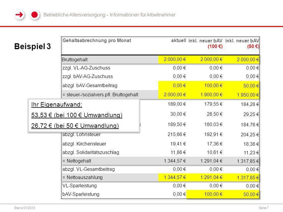 Stand 01/2013Seite 7 Beispiel 3 Betriebliche Altersversorgung Informationen für Arbeitnehmer Ihr Eigenaufwand: 53,53 (bei 100 Umwandlung) 26,72 (bei 50 Umwandlung) Ihr Eigenaufwand: 53,53 (bei 100 Umwandlung) 26,72 (bei 50 Umwandlung)