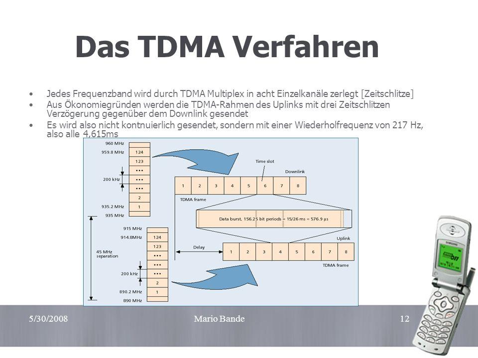 5/30/2008Mario Bande12 Das TDMA Verfahren Jedes Frequenzband wird durch TDMA Multiplex in acht Einzelkanäle zerlegt [Zeitschlitze] Aus Ökonomiegründen