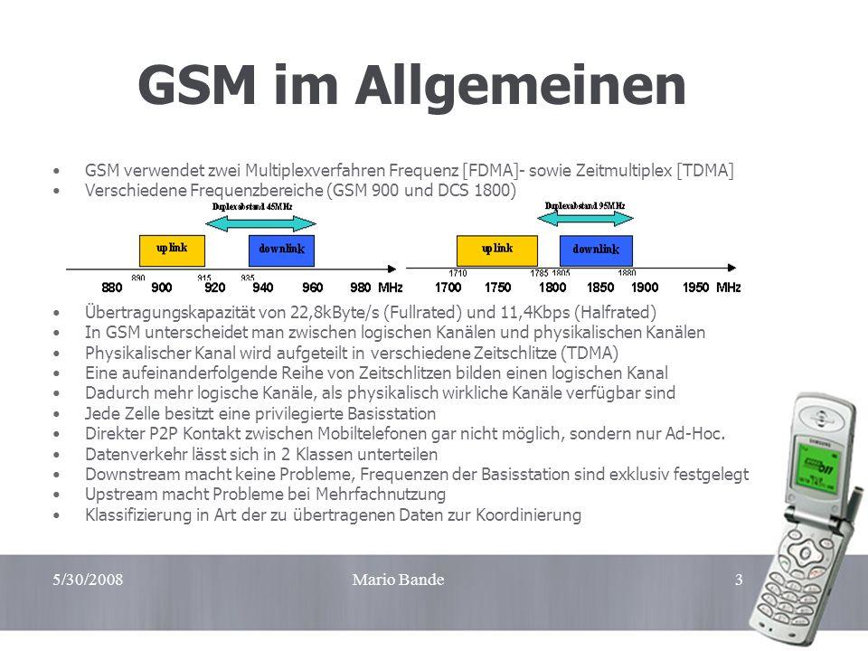 5/30/2008Mario Bande3 GSM im Allgemeinen GSM verwendet zwei Multiplexverfahren Frequenz [FDMA]- sowie Zeitmultiplex [TDMA] Verschiedene Frequenzbereic