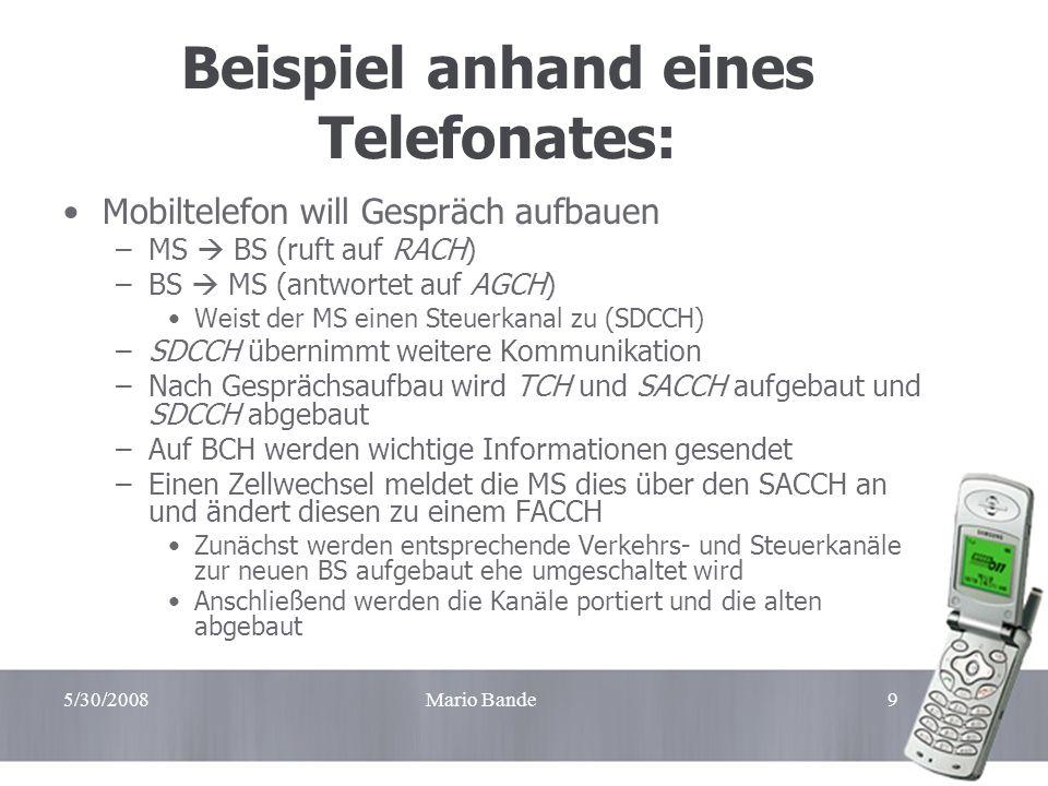 5/30/2008Mario Bande9 Beispiel anhand eines Telefonates: Mobiltelefon will Gespräch aufbauen –MS BS (ruft auf RACH) –BS MS (antwortet auf AGCH) Weist