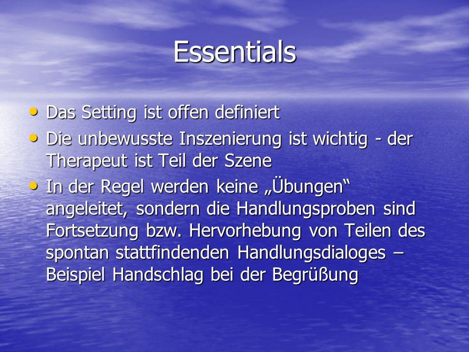 Essentials Das Setting ist offen definiert Das Setting ist offen definiert Die unbewusste Inszenierung ist wichtig - der Therapeut ist Teil der Szene