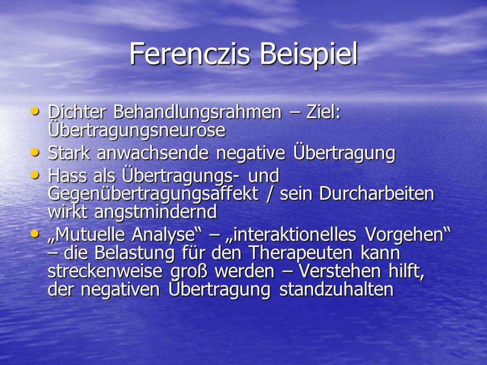 Ferenczis Beispiel Dichter Behandlungsrahmen – Ziel: Übertragungsneurose Dichter Behandlungsrahmen – Ziel: Übertragungsneurose Stark anwachsende negat