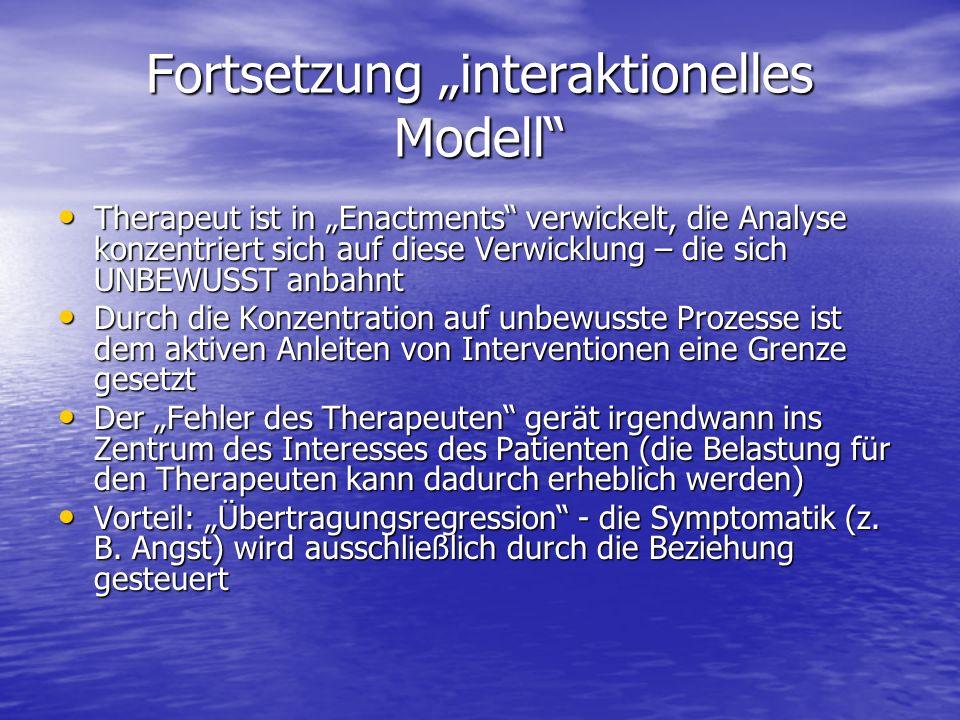 Fortsetzung interaktionelles Modell Therapeut ist in Enactments verwickelt, die Analyse konzentriert sich auf diese Verwicklung – die sich UNBEWUSST a