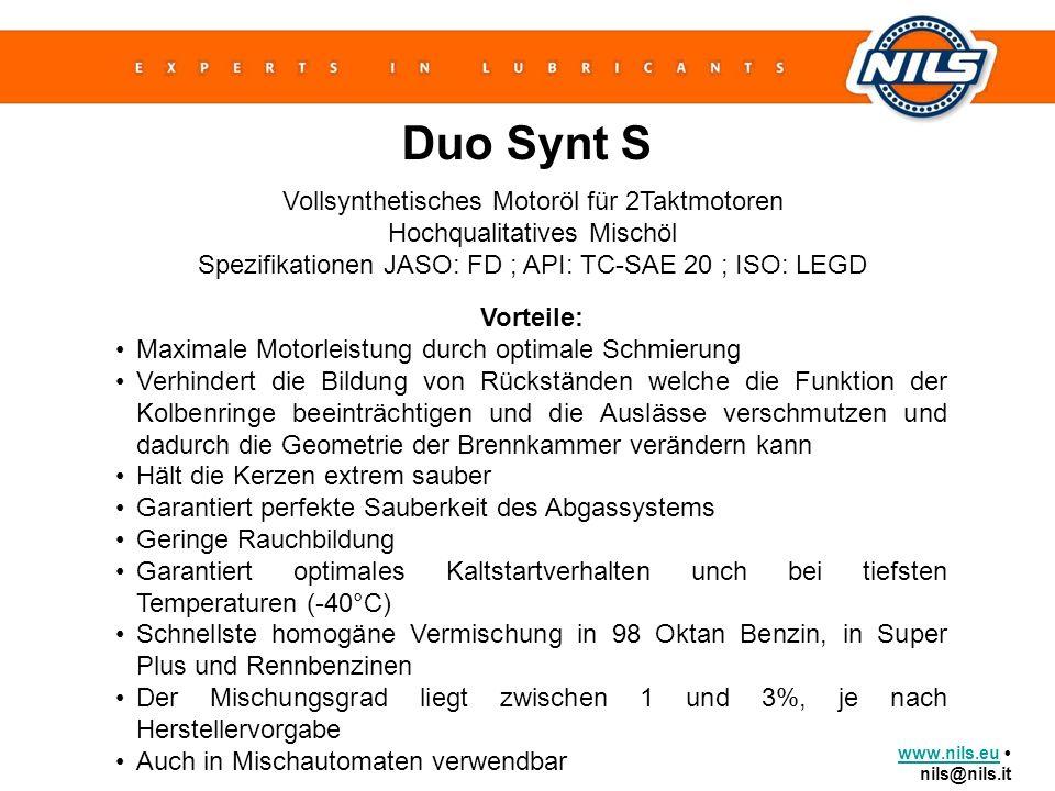 www.nils.euwww.nils.eu nils@nils.it Duo Synt S Vollsynthetisches Motoröl für 2Taktmotoren Hochqualitatives Mischöl Spezifikationen JASO: FD ; API: TC-