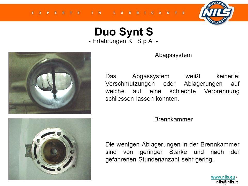 www.nils.euwww.nils.eu nils@nils.it Duo Synt S Abagssystem - Erfahrungen KL S.p.A. - Das Abgassystem weißt keinerlei Verschmutzungen oder Ablagerungen