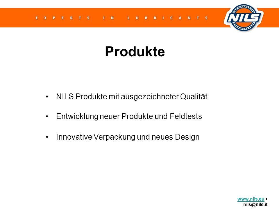 www.nils.euwww.nils.eu nils@nils.it NILS Produkte mit ausgezeichneter Qualität Produkte Entwicklung neuer Produkte und Feldtests Innovative Verpackung