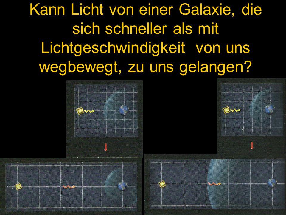 Kann Licht von einer Galaxie, die sich schneller als mit Lichtgeschwindigkeit von uns wegbewegt, zu uns gelangen?