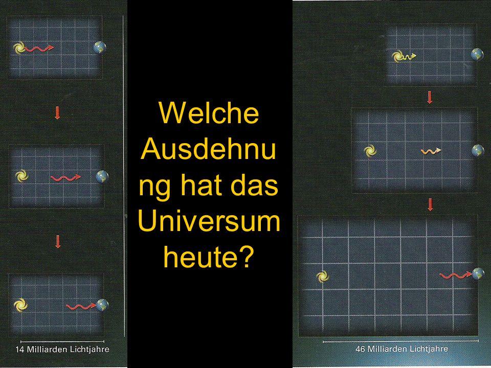 Welche Ausdehnu ng hat das Universum heute?