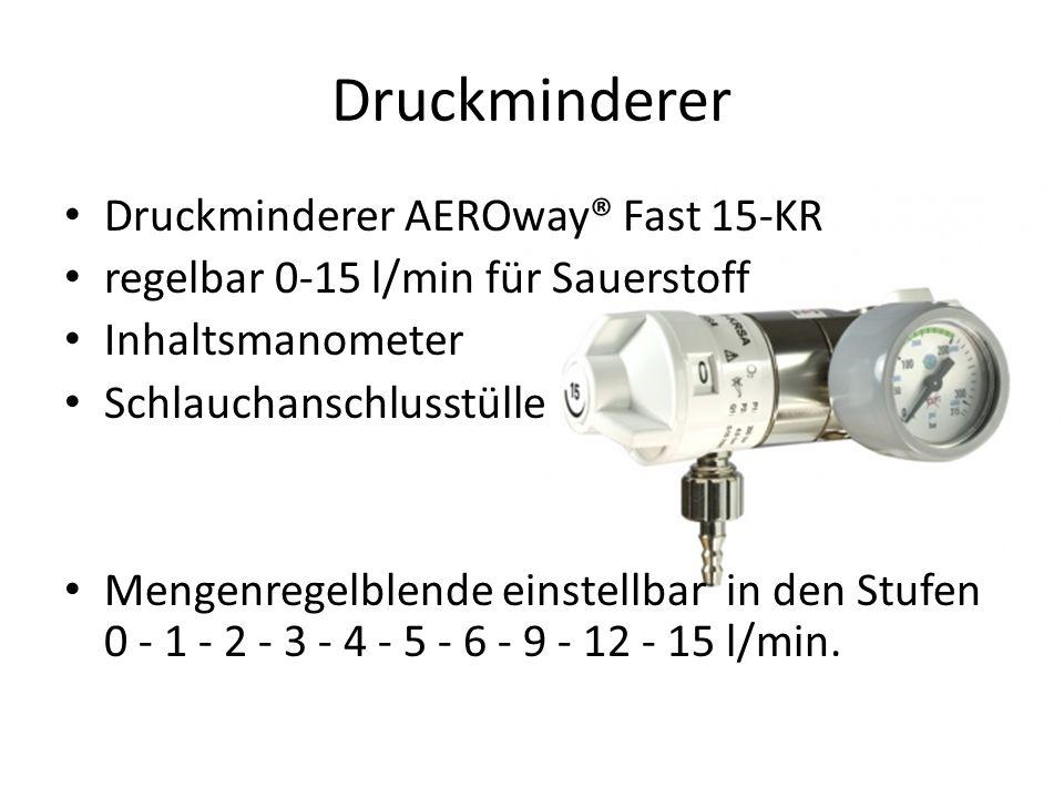 Druckminderer AEROway® Fast 15-KR regelbar 0-15 l/min für Sauerstoff Inhaltsmanometer Schlauchanschlusstülle Mengenregelblende einstellbar in den Stufen 0 - 1 - 2 - 3 - 4 - 5 - 6 - 9 - 12 - 15 l/min.