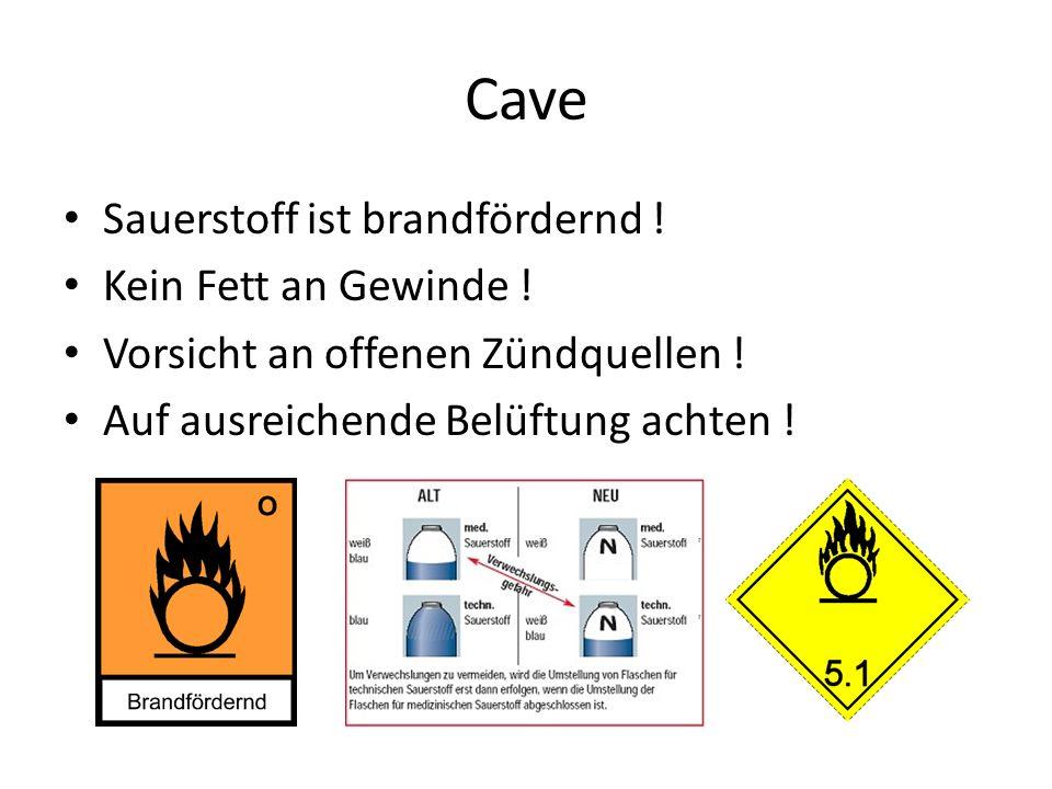 Cave Sauerstoff ist brandfördernd ! Kein Fett an Gewinde ! Vorsicht an offenen Zündquellen ! Auf ausreichende Belüftung achten !
