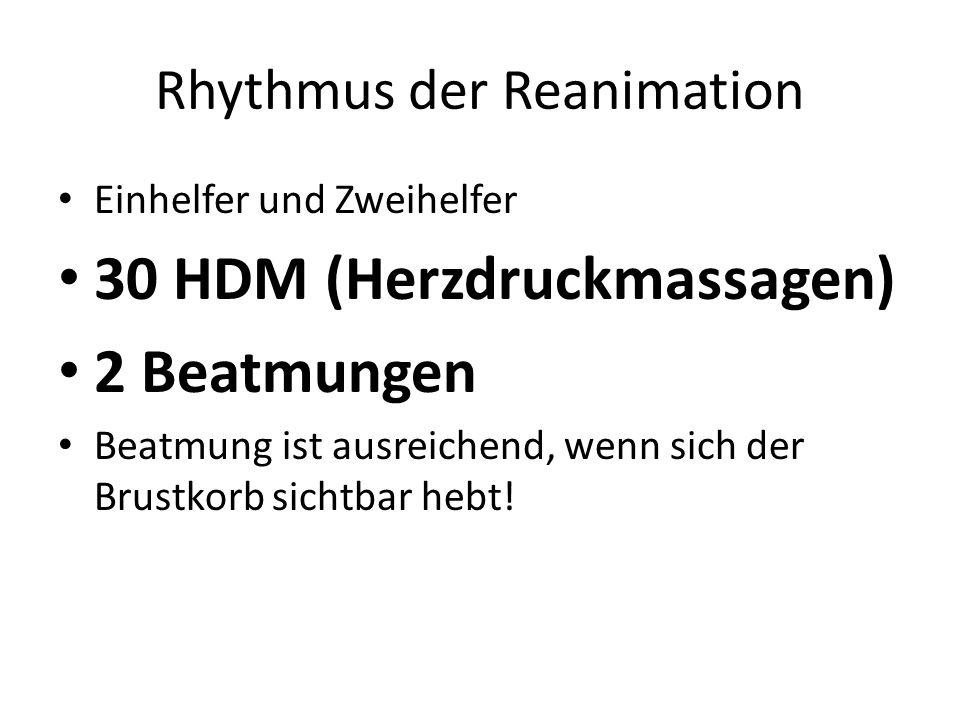 Rhythmus der Reanimation Einhelfer und Zweihelfer 30 HDM (Herzdruckmassagen) 2 Beatmungen Beatmung ist ausreichend, wenn sich der Brustkorb sichtbar h