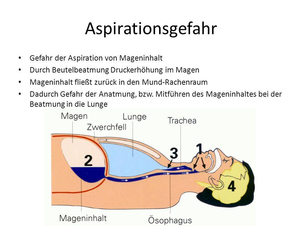 Gefahr der Aspiration von Mageninhalt Durch Beutelbeatmung Druckerhöhung im Magen Mageninhalt fließt zurück in den Mund-Rachenraum Dadurch Gefahr der