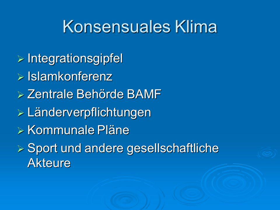 Konsensuales Klima Integrationsgipfel Integrationsgipfel Islamkonferenz Islamkonferenz Zentrale Behörde BAMF Zentrale Behörde BAMF Länderverpflichtung
