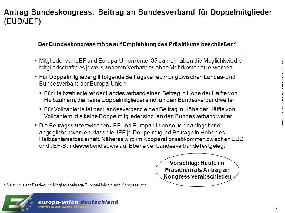 Working Draft - Last Modified 18.09.2008 09:22:54 Printed 44 Antrag Bundeskongress: Beitrag an Bundesverband für Doppelmitglieder (EUD/JEF) Mitglieder