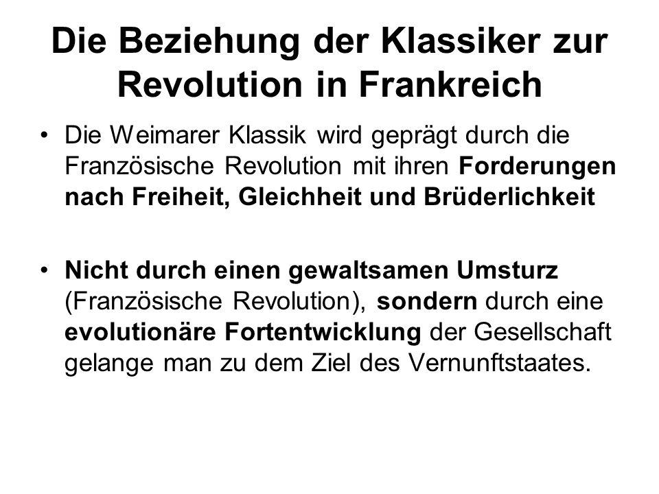 Die Beziehung der Klassiker zur Revolution in Frankreich Die Weimarer Klassik wird geprägt durch die Französische Revolution mit ihren Forderungen nac