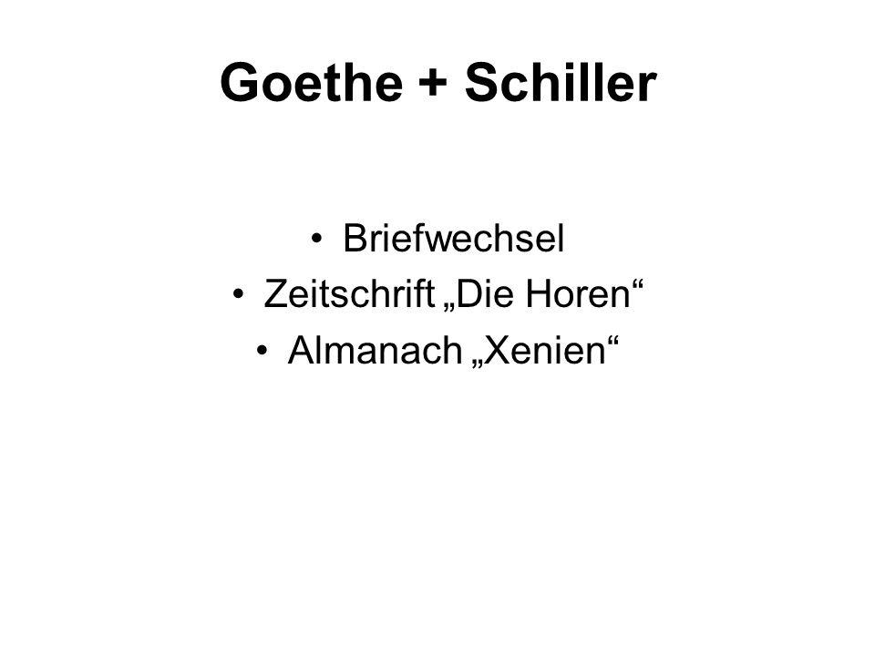 Goethe + Schiller Briefwechsel Zeitschrift Die Horen Almanach Xenien
