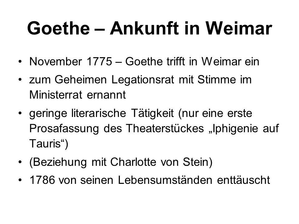 Goethe – Ankunft in Weimar November 1775 – Goethe trifft in Weimar ein zum Geheimen Legationsrat mit Stimme im Ministerrat ernannt geringe literarisch
