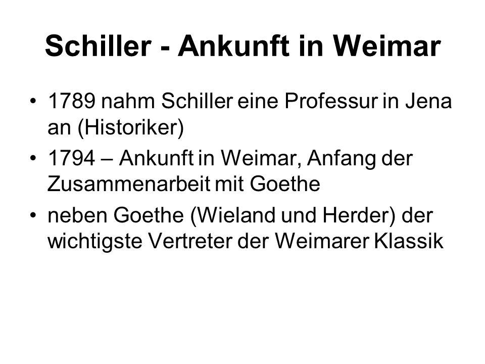Schiller - Ankunft in Weimar 1789 nahm Schiller eine Professur in Jena an (Historiker) 1794 – Ankunft in Weimar, Anfang der Zusammenarbeit mit Goethe