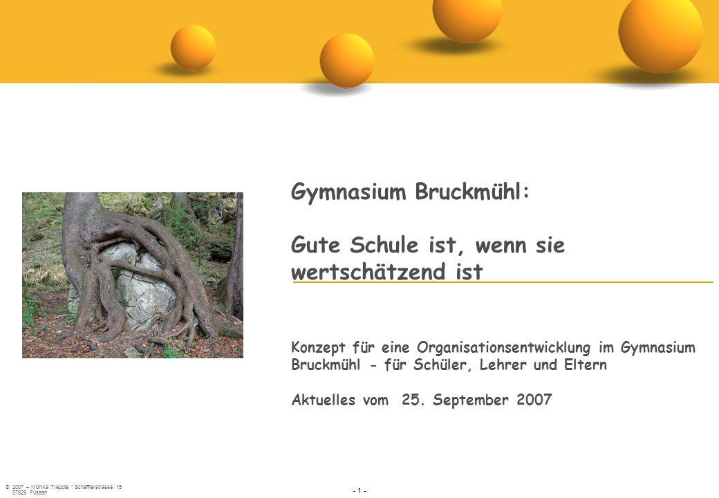 ©2007 – Monika Treppte * Schäfflerstrasse 15 87629 Füssen - 1 - Gymnasium Bruckmühl:Gute Schule ist, wenn siewertschätzend istKonzept für eine Organis