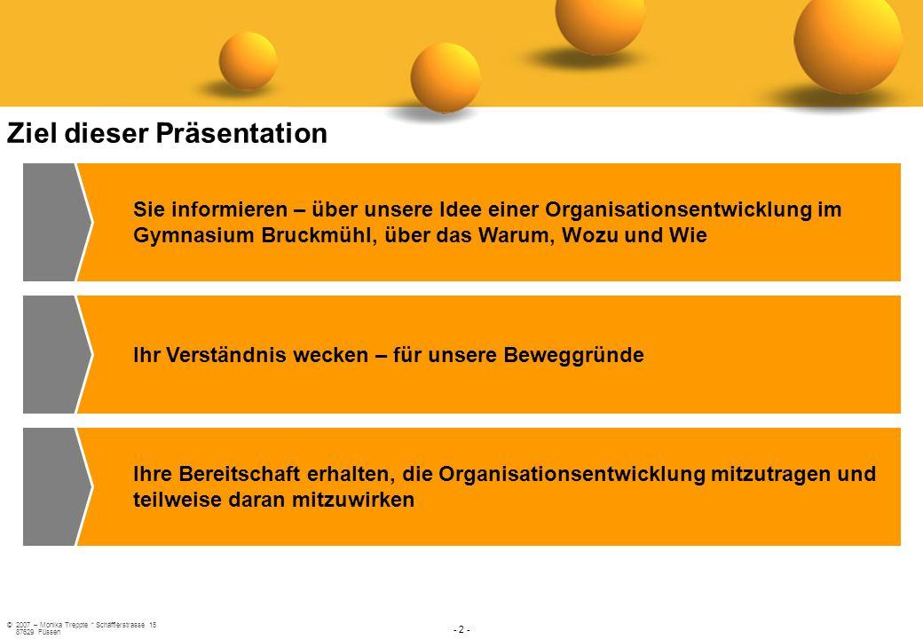 ©2007 – Monika Treppte * Schäfflerstrasse 15 87629 Füssen - 2 - Ziel dieser Präsentation Sie informieren – über unsere Idee einer Organisationsentwick