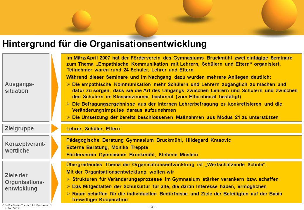 ©2007 – Monika Treppte * Schäfflerstrasse 15 87629 Füssen - 3 - Konzeptverant- wortliche Pädagogische Beratung Gymnasium Bruckmühl, Hildegard Krasovic