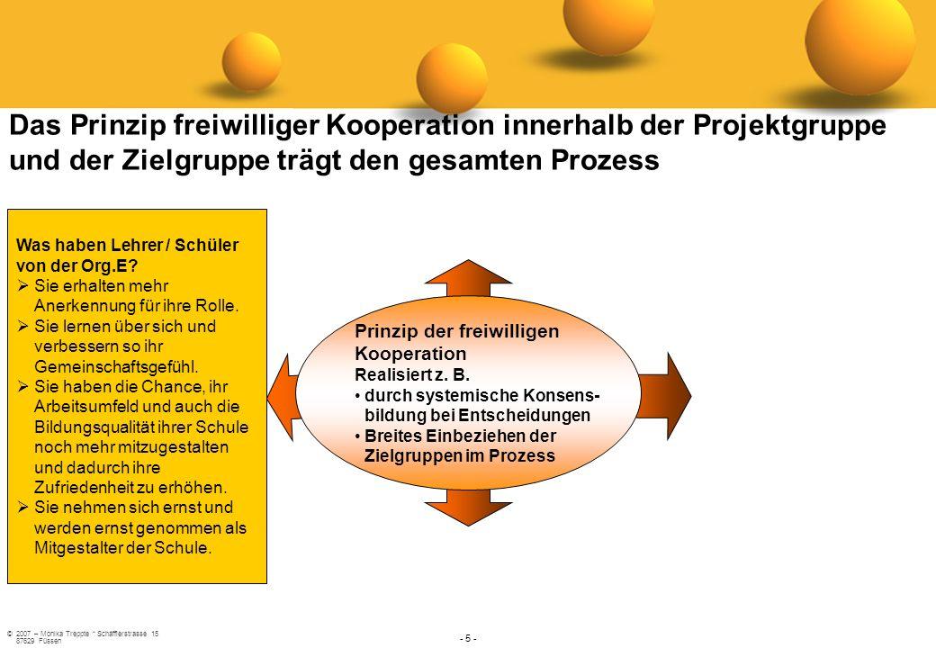 ©2007 – Monika Treppte * Schäfflerstrasse 15 87629 Füssen - 5 - Prinzip der freiwilligen Kooperation Realisiert z. B. durch systemische Konsens- bildu