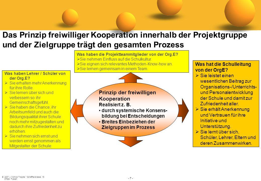 ©2007 – Monika Treppte * Schäfflerstrasse 15 87629 Füssen - 7 - Prinzip der freiwilligen Kooperation Realisiert z. B. durch systemische Konsens- bildu