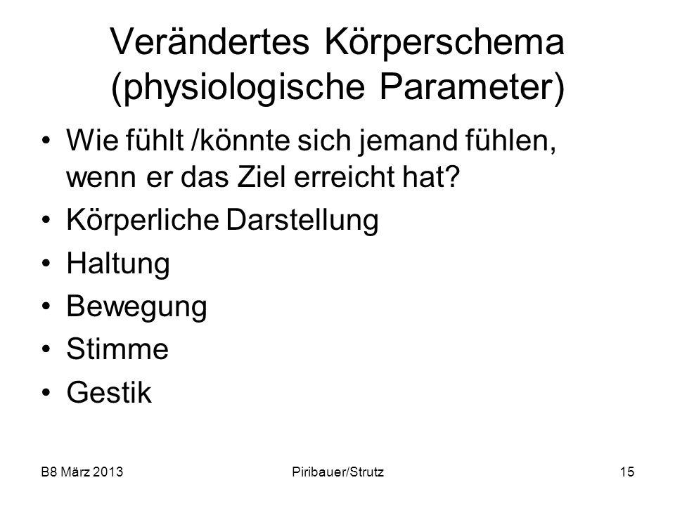 B8 März 2013Piribauer/Strutz15 Verändertes Körperschema (physiologische Parameter) Wie fühlt /könnte sich jemand fühlen, wenn er das Ziel erreicht hat