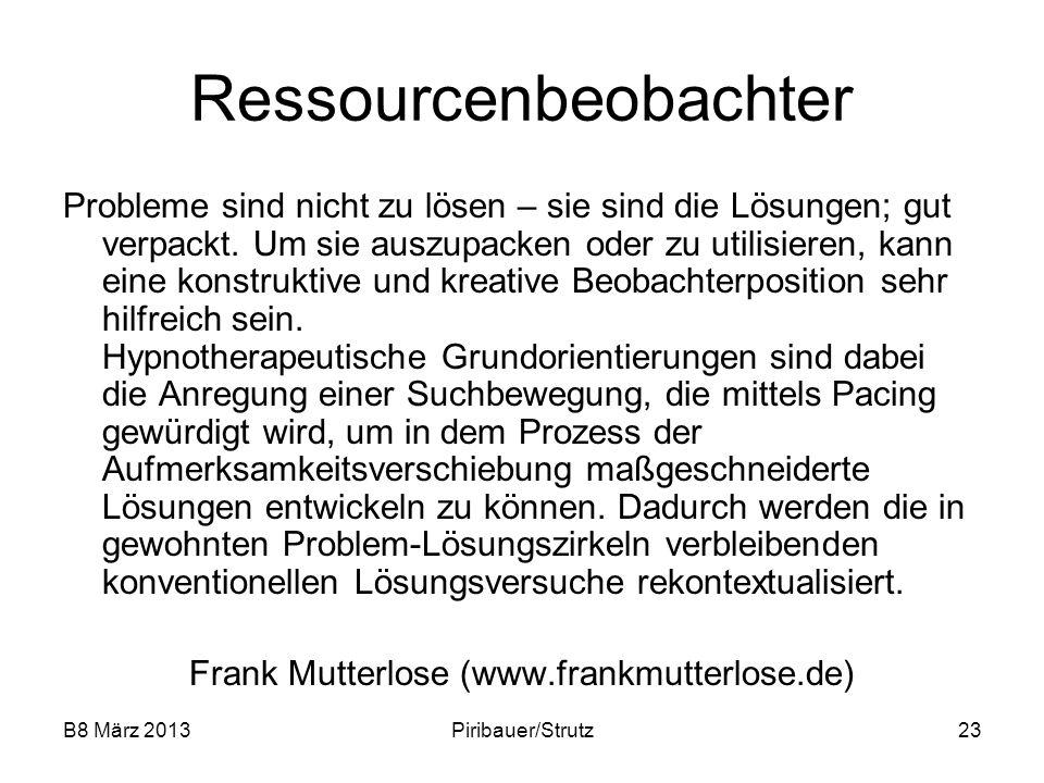 B8 März 2013Piribauer/Strutz23 Ressourcenbeobachter Probleme sind nicht zu lösen – sie sind die Lösungen; gut verpackt. Um sie auszupacken oder zu uti