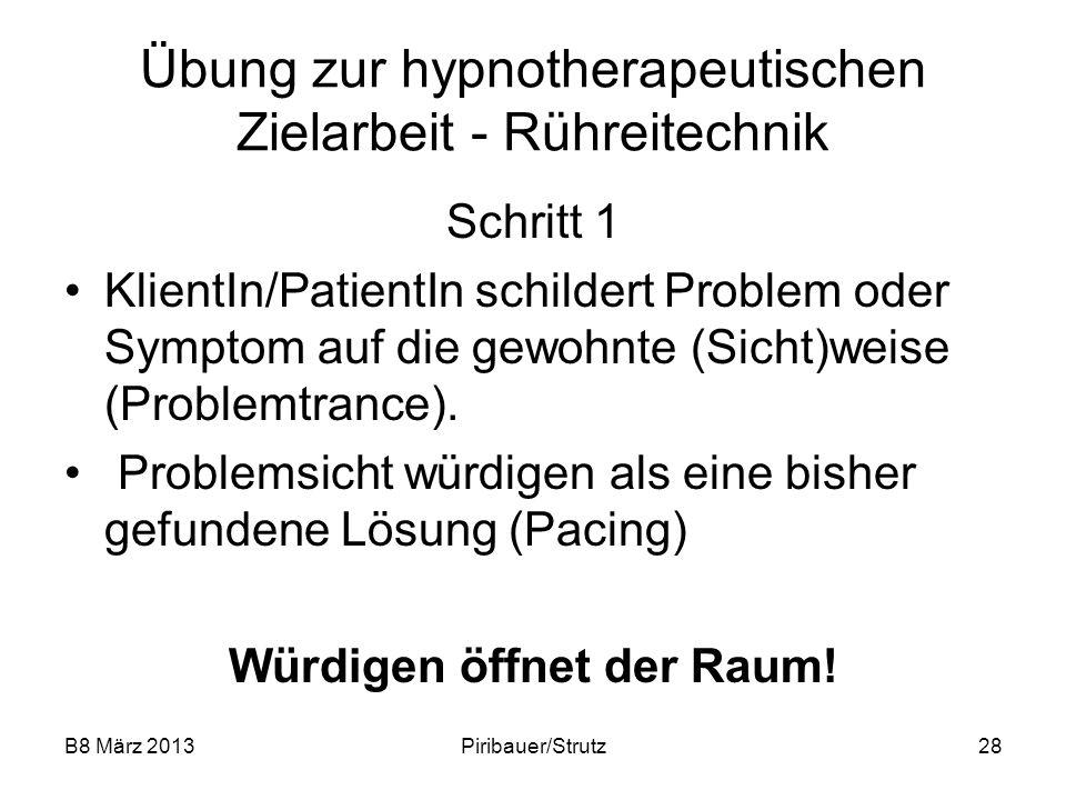 B8 März 2013Piribauer/Strutz28 Übung zur hypnotherapeutischen Zielarbeit - Rühreitechnik Schritt 1 KlientIn/PatientIn schildert Problem oder Symptom a