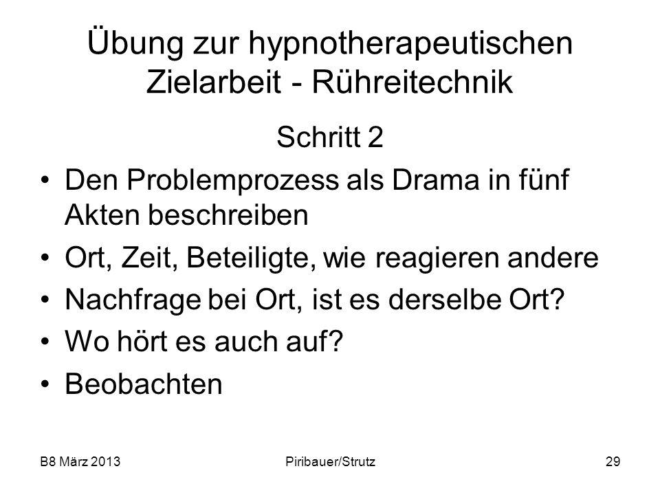 B8 März 2013Piribauer/Strutz29 Übung zur hypnotherapeutischen Zielarbeit - Rühreitechnik Schritt 2 Den Problemprozess als Drama in fünf Akten beschrei