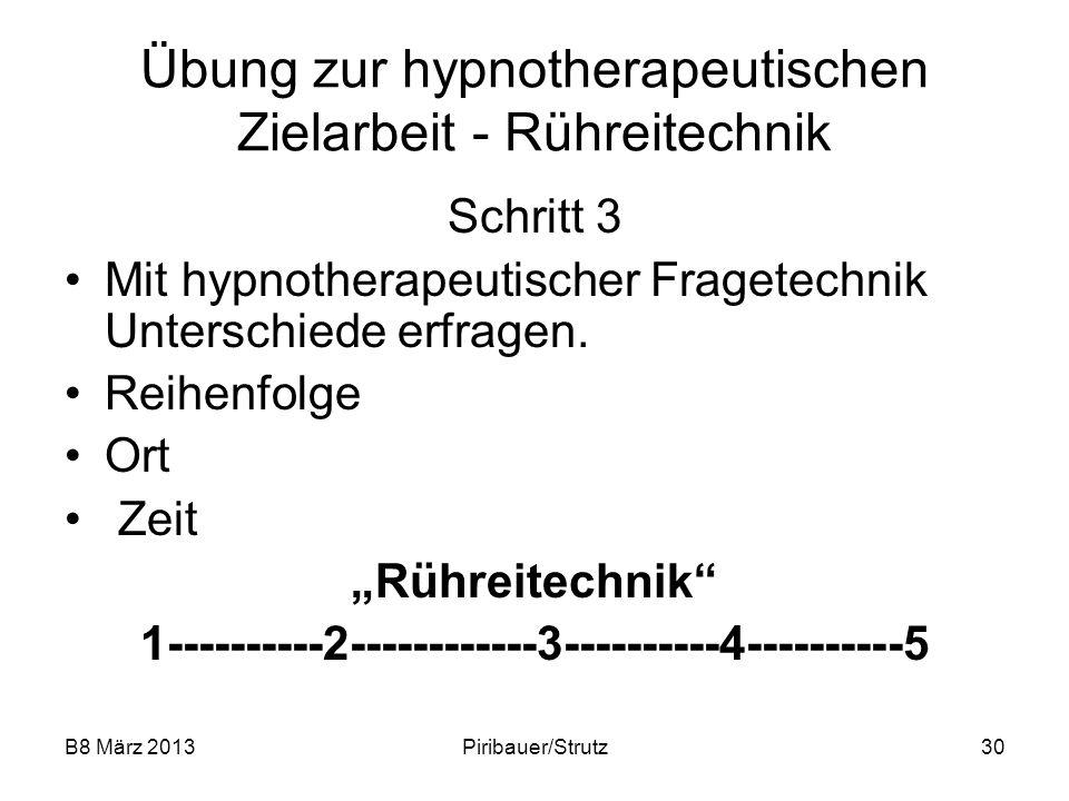B8 März 2013Piribauer/Strutz30 Übung zur hypnotherapeutischen Zielarbeit - Rühreitechnik Schritt 3 Mit hypnotherapeutischer Fragetechnik Unterschiede