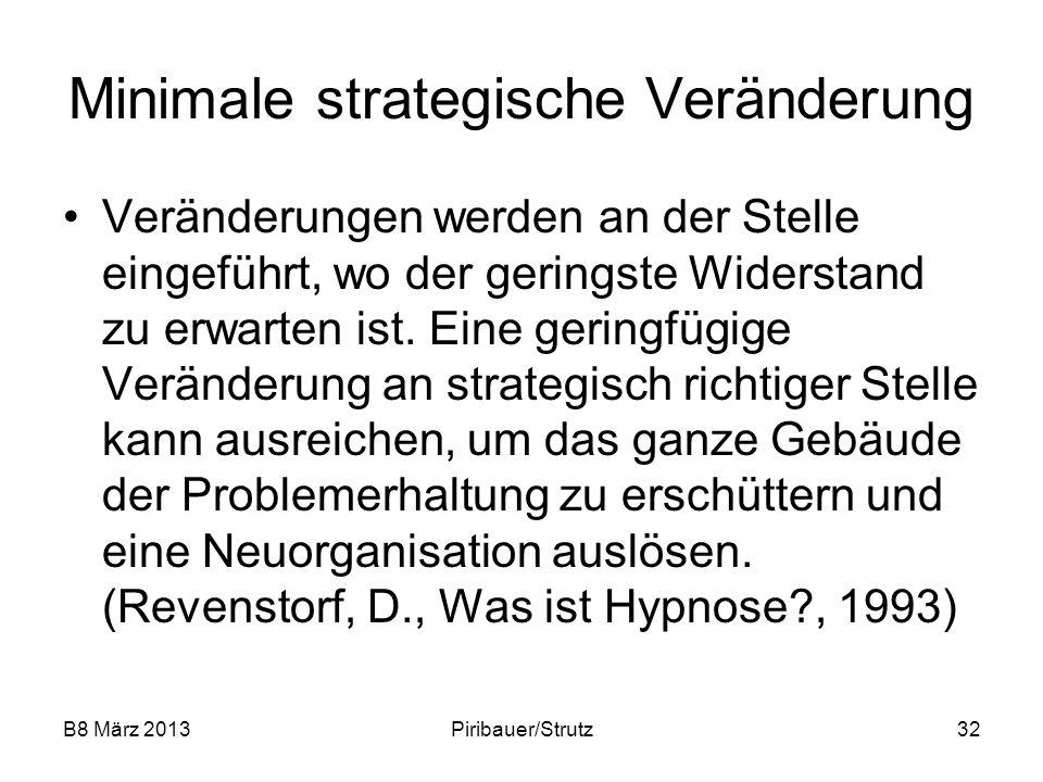 B8 März 2013Piribauer/Strutz32 Minimale strategische Veränderung Veränderungen werden an der Stelle eingeführt, wo der geringste Widerstand zu erwarte