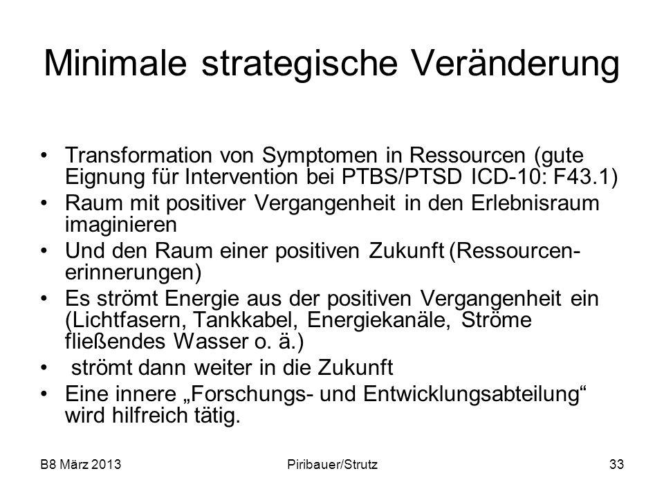 B8 März 2013Piribauer/Strutz33 Minimale strategische Veränderung Transformation von Symptomen in Ressourcen (gute Eignung für Intervention bei PTBS/PT