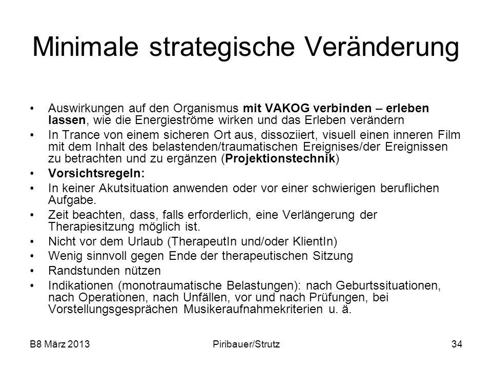 B8 März 2013Piribauer/Strutz34 Minimale strategische Veränderung Auswirkungen auf den Organismus mit VAKOG verbinden – erleben lassen, wie die Energie