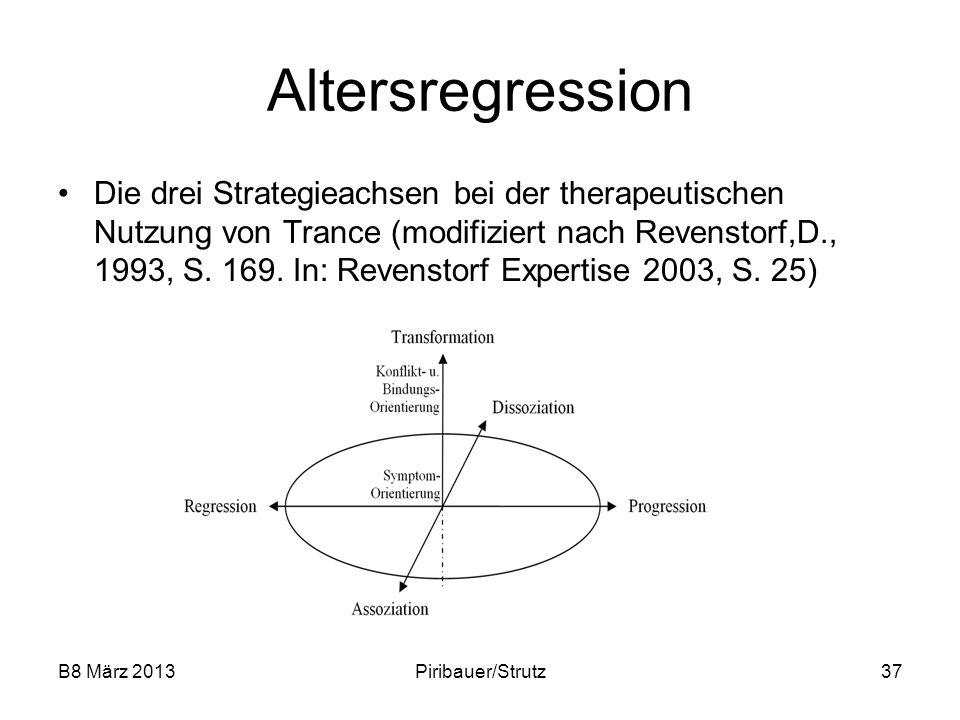 B8 März 2013Piribauer/Strutz37 Altersregression Die drei Strategieachsen bei der therapeutischen Nutzung von Trance (modifiziert nach Revenstorf,D., 1