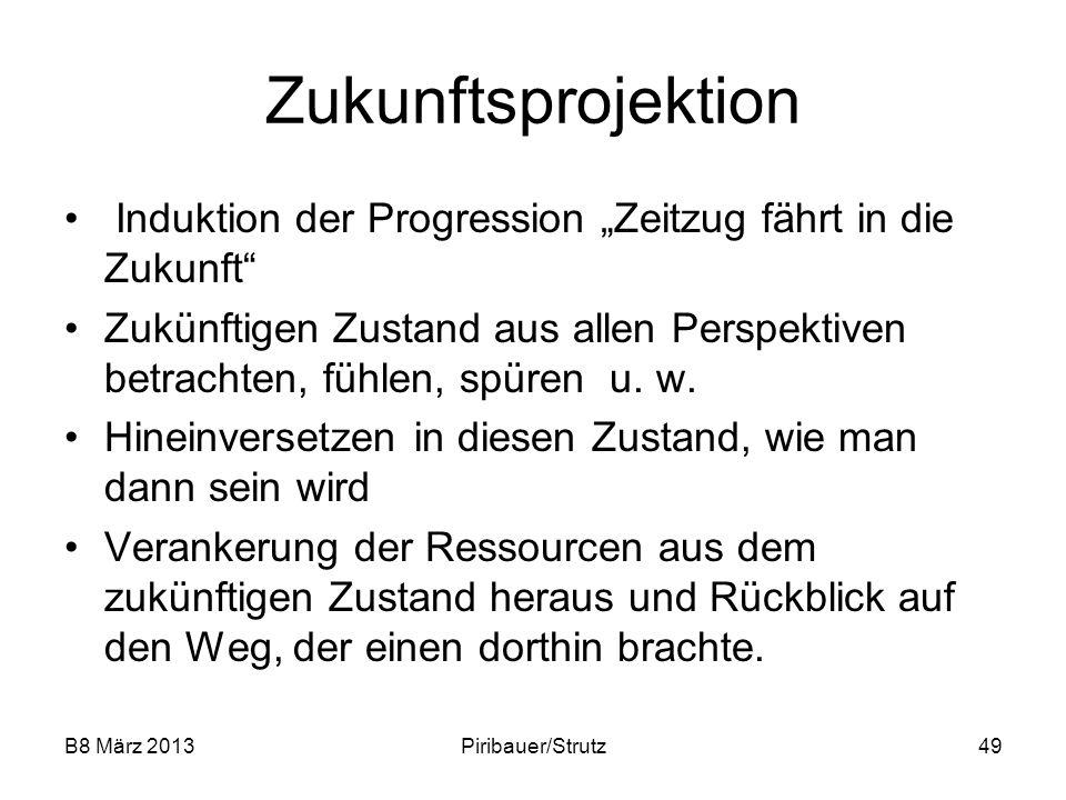 B8 März 2013Piribauer/Strutz49 Zukunftsprojektion Induktion der Progression Zeitzug fährt in die Zukunft Zukünftigen Zustand aus allen Perspektiven be