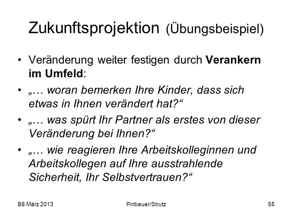 B8 März 2013Piribauer/Strutz55 Zukunftsprojektion (Übungsbeispiel) Veränderung weiter festigen durch Verankern im Umfeld: … woran bemerken Ihre Kinder