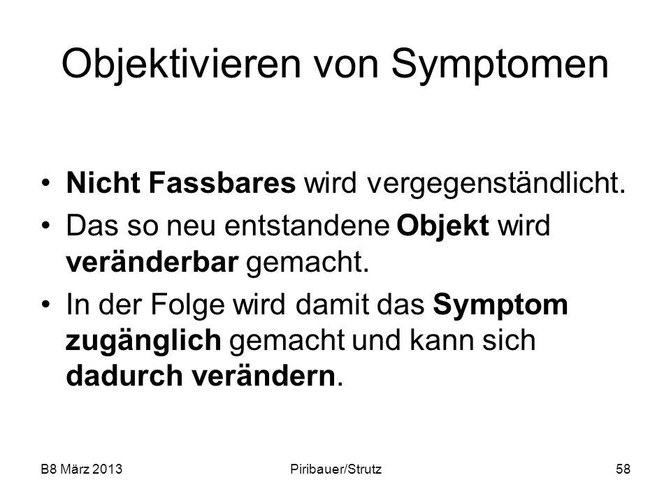 B8 März 2013Piribauer/Strutz58 Objektivieren von Symptomen Nicht Fassbares wird vergegenständlicht. Das so neu entstandene Objekt wird veränderbar gem