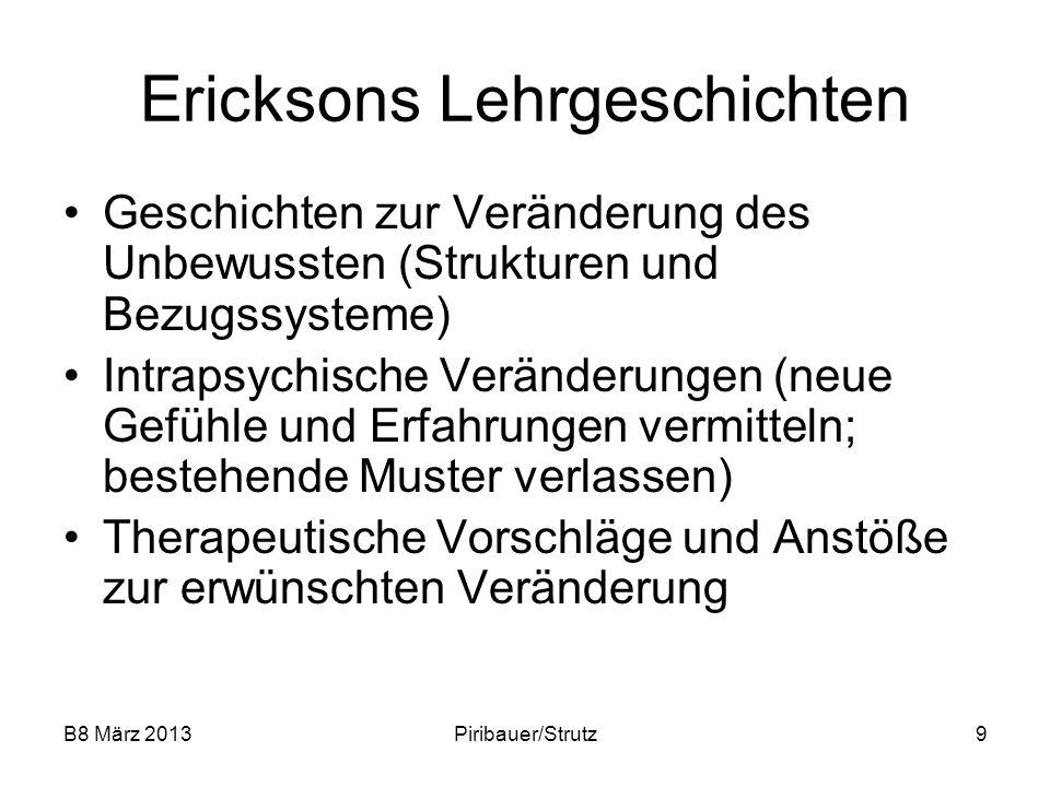 B8 März 2013Piribauer/Strutz9 Ericksons Lehrgeschichten Geschichten zur Veränderung des Unbewussten (Strukturen und Bezugssysteme) Intrapsychische Ver