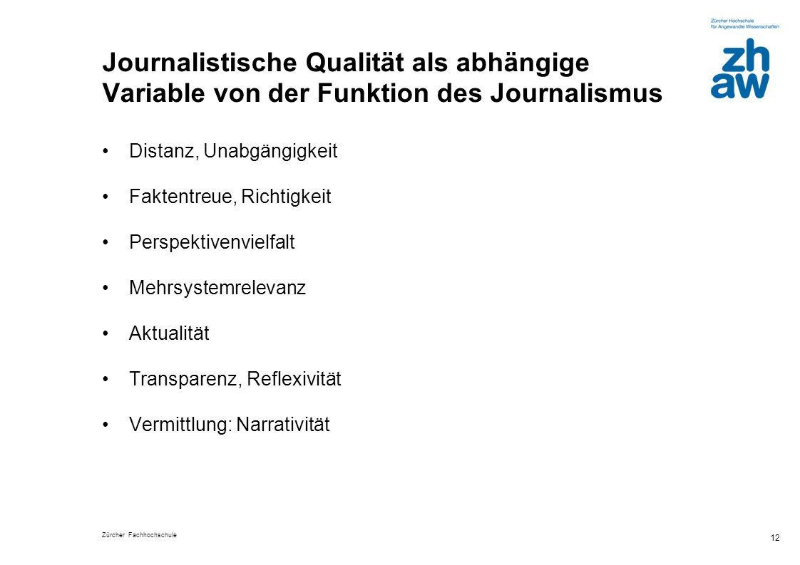Zürcher Fachhochschule 12 Journalistische Qualität als abhängige Variable von der Funktion des Journalismus Distanz, Unabgängigkeit Faktentreue, Richt