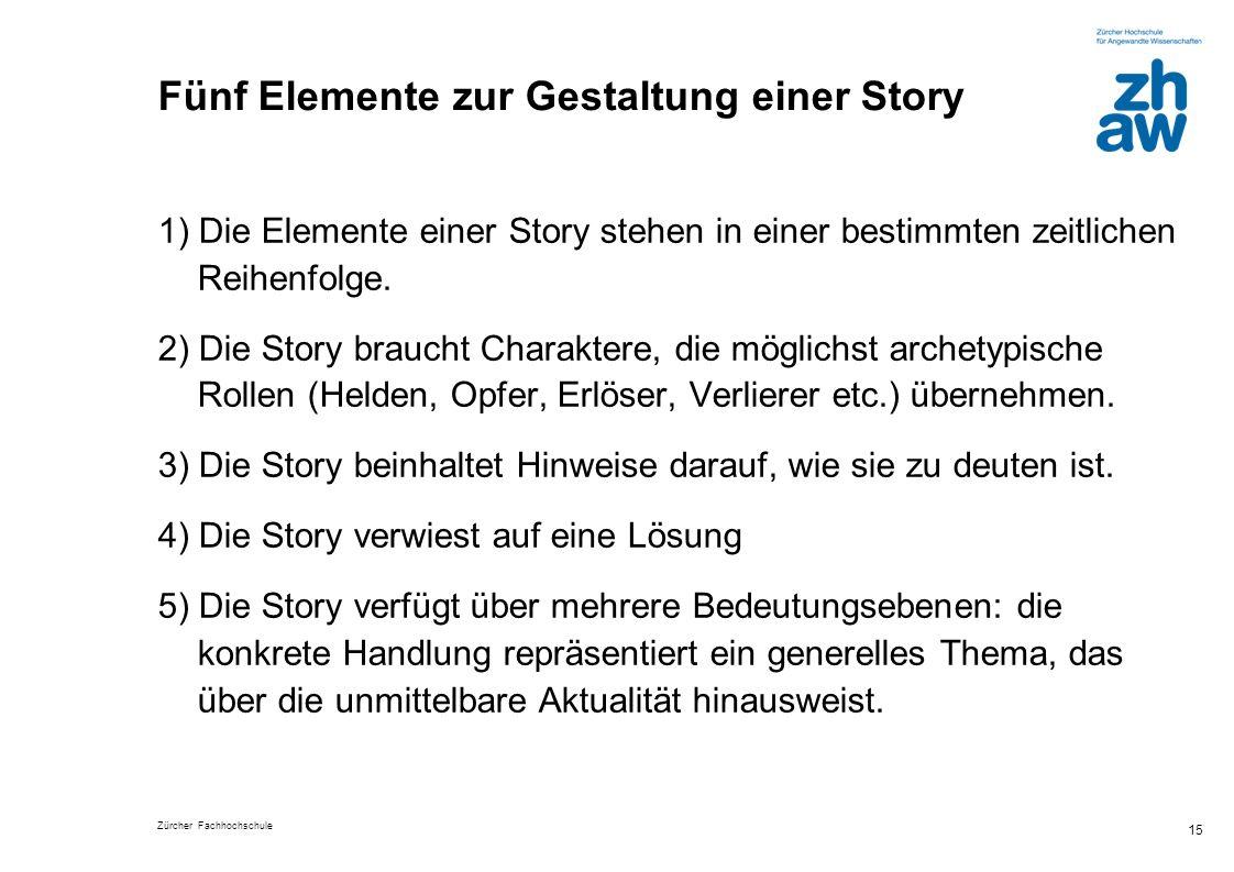 Zürcher Fachhochschule 15 Fünf Elemente zur Gestaltung einer Story 1) Die Elemente einer Story stehen in einer bestimmten zeitlichen Reihenfolge. 2) D