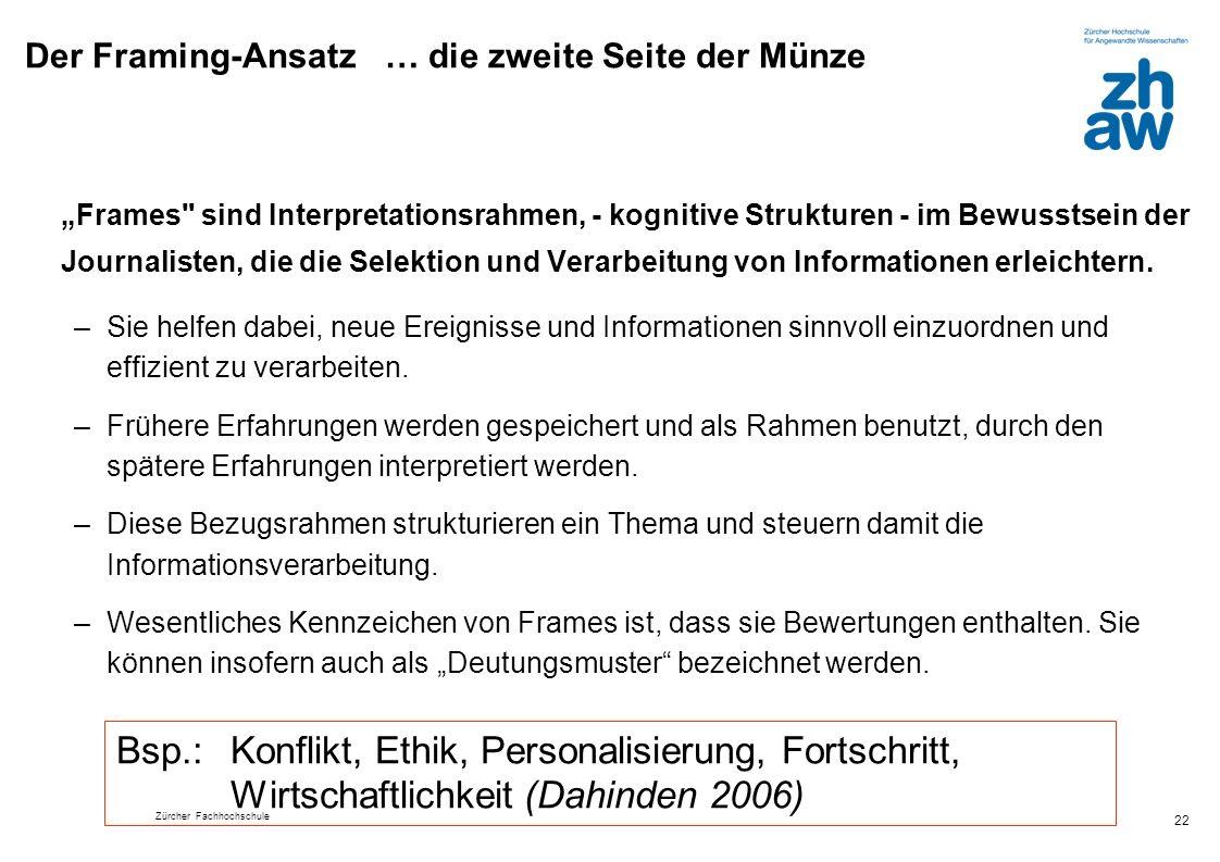 Zürcher Fachhochschule 22 Der Framing-Ansatz … die zweite Seite der Münze Frames