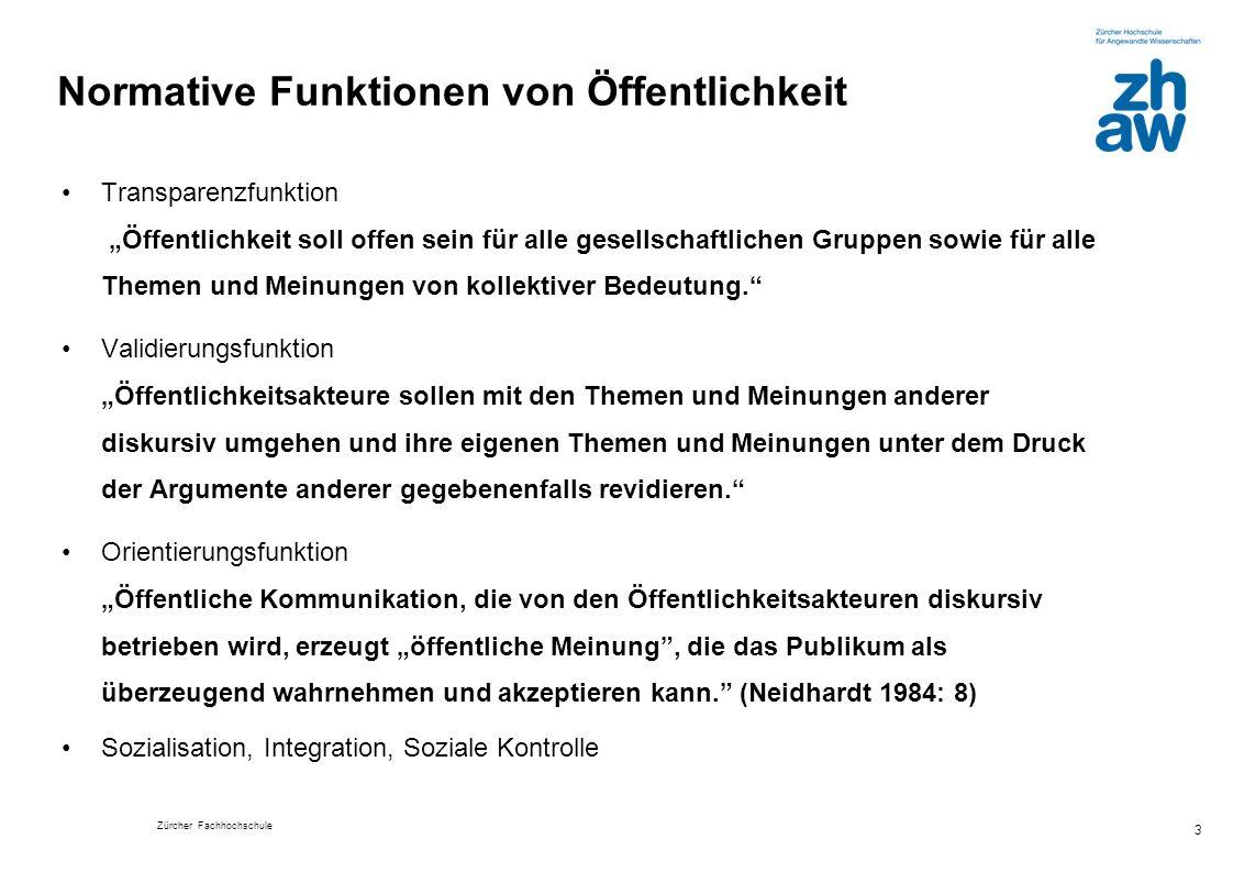 Zürcher Fachhochschule 3 Normative Funktionen von Öffentlichkeit Transparenzfunktion Öffentlichkeit soll offen sein für alle gesellschaftlichen Gruppe