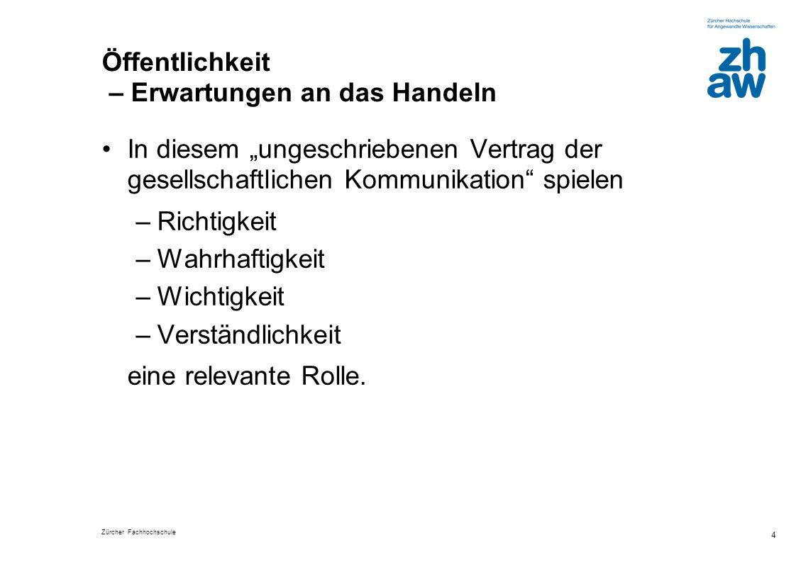Zürcher Fachhochschule 4 Öffentlichkeit – Erwartungen an das Handeln In diesem ungeschriebenen Vertrag der gesellschaftlichen Kommunikation spielen –R