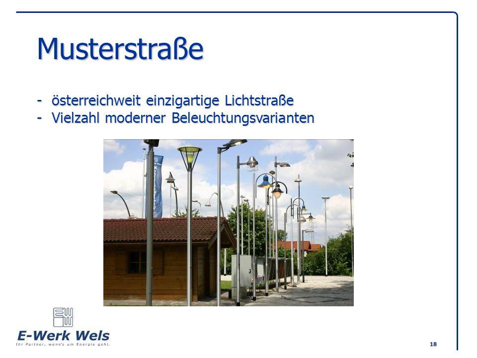 18 Musterstraße -österreichweit einzigartige Lichtstraße -Vielzahl moderner Beleuchtungsvarianten