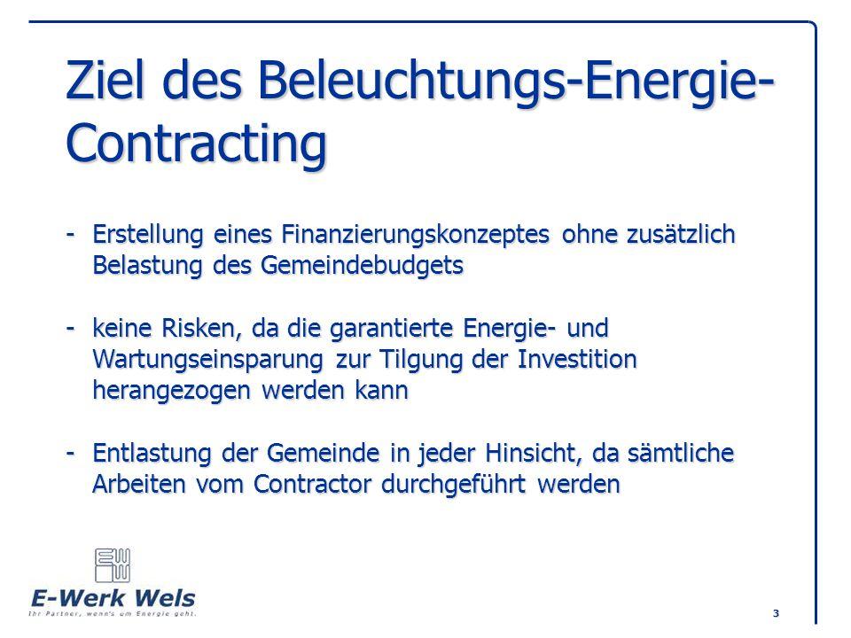 3 Ziel des Beleuchtungs-Energie- Contracting -Erstellung eines Finanzierungskonzeptes ohne zusätzlich Belastung des Gemeindebudgets -keine Risken, da