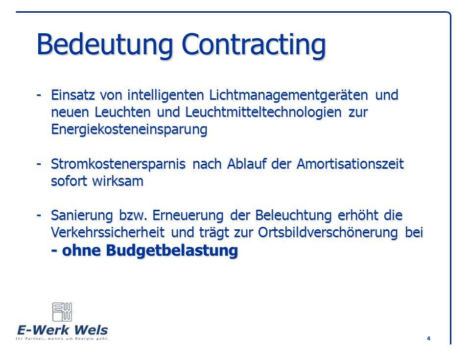4 Bedeutung Contracting -Einsatz von intelligenten Lichtmanagementgeräten und neuen Leuchten und Leuchtmitteltechnologien zur Energiekosteneinsparung