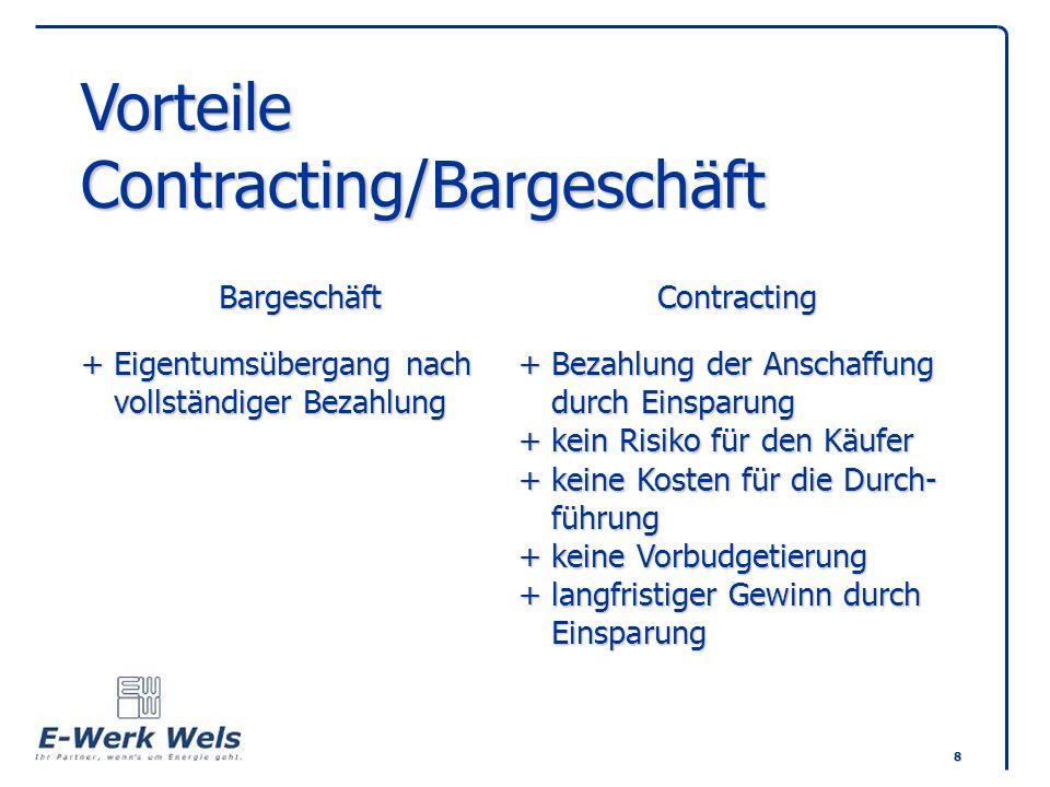 8 Vorteile Contracting/Bargeschäft BargeschäftContracting +Eigentumsübergang nach+Bezahlung der Anschaffung vollständiger Bezahlungdurch Einsparung +k