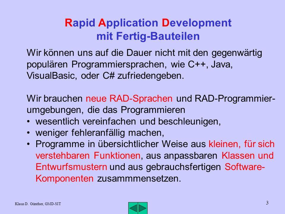3 Rapid Application Development mit Fertig-Bauteilen Wir können uns auf die Dauer nicht mit den gegenwärtig populären Programmiersprachen, wie C++, Java, VisualBasic, oder C# zufriedengeben.